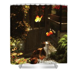 A Romantic Cat Loves Butterflies Shower Curtain