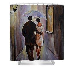 A Romantic Stroll Shower Curtain by Leslie Allen