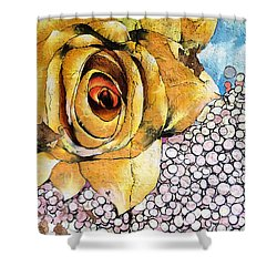 Shower Curtain featuring the mixed media A Rose By Any Other Name by Terry Rowe