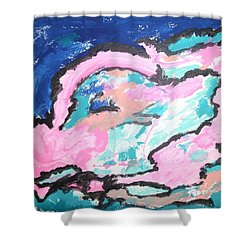 Shower Curtain featuring the painting A Rosy Experience by Esther Newman-Cohen