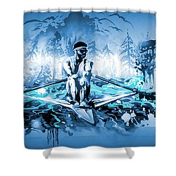 Shower Curtain featuring the painting A Rower's Fantasy by Hanne Lore Koehler