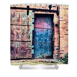 A Rusty Loading Dock Door Shower Curtain by Diana Mary Sharpton