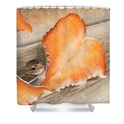 Shower Curtain featuring the painting A Safe Place by Veronica Minozzi
