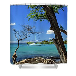 A Sailboat In Anaehoomalu Bay Shower Curtain by James Eddy