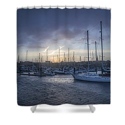 A Sailors Warning At Bangor Marina Shower Curtain