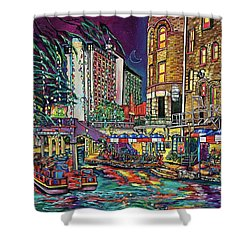 Shower Curtain featuring the painting A San Antonio Christmas by Patti Schermerhorn