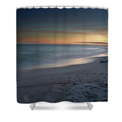 A Sandy Shoreline At Sunset Shower Curtain