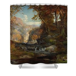 A Scene On The Tohickon Creek Shower Curtain by Thomas Moran