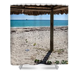 A Seat In A Tropical Beach Hut Shower Curtain by Michelle Wiarda