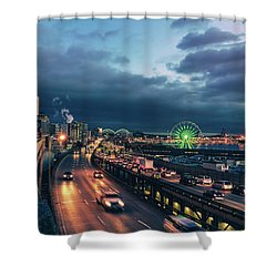 A Seattle Evening Shower Curtain