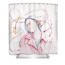 Shower Curtain featuring the drawing A Sower's Nightmare by William Hart McNichols