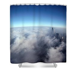 A Shadow Of The Sears Tower Slants Shower Curtain