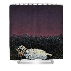 A Sheep In The Dark Shower Curtain