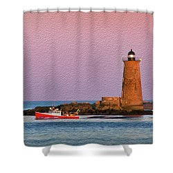A Ship Passes The Super Moon And Whaleback Shower Curtain