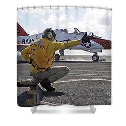 A Shooter Launches A T-45 Goshawk Shower Curtain by Stocktrek Images