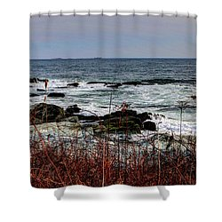 Shower Curtain featuring the photograph A Shoreline In New England by Tom Prendergast