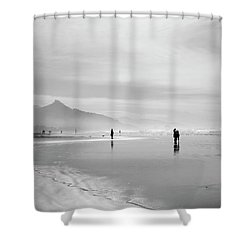 A Silver Day On The Beach Shower Curtain by Dan Dooley