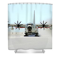 A Ski-equipped Lc-130 Hercules Shower Curtain by Stocktrek Images