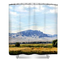Shower Curtain featuring the painting A Sleeping Giant by Susan Kinney
