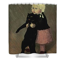 A Small Girl With A Cat Shower Curtain by TA Steinlen