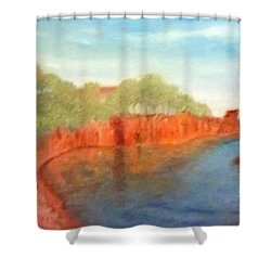 A Small Inlet Bay With Red Orange Rocks Shower Curtain