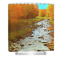 A Small Stream Bright Fall Color. Shower Curtain