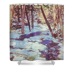 A Small Stream Meandering Through Winter Landscape. Shower Curtain