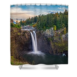 A Snoqualmie Falls  Autumn Shower Curtain by Ken Stanback