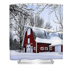 A Snowy Day At Grey Ledge Farm Shower Curtain