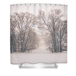 A Snowy Monday Shower Curtain