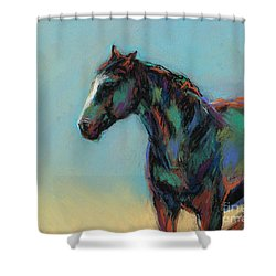 Shower Curtain featuring the pastel A Soft Breeze by Frances Marino