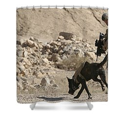 A Soldier And His Dog Search An Area Shower Curtain by Stocktrek Images