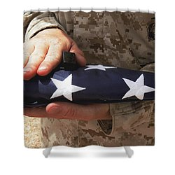 A Soldier Holds The United States Flag Shower Curtain by Stocktrek Images