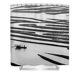 A Solitary Boatman. Shower Curtain