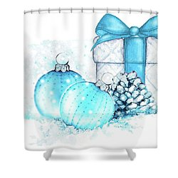 Shower Curtain featuring the painting A Sparkly Blue Christmas by Heidi Kriel