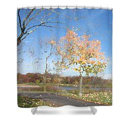 A Sparkly Fall Day Shower Curtain by Kathie Chicoine