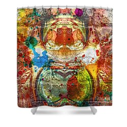 A Spattering Of Color Shower Curtain by Kathie Chicoine