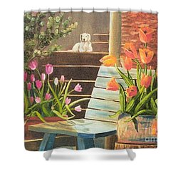 Shower Curtain featuring the painting A Special Place by Renate Nadi Wesley
