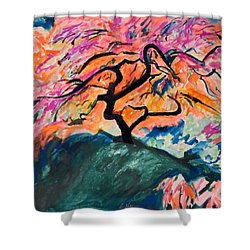 A Splendid Japanese Maple Tree Shower Curtain by Esther Newman-Cohen