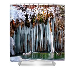 A Spring That Knows No Summer. - Hanging Lake Print Shower Curtain