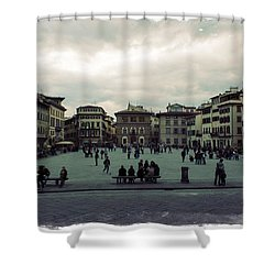 Shower Curtain featuring the photograph A Square In Florence Italy by Wade Brooks