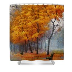 A Stand For Autumn Shower Curtain by Mario Carini