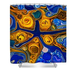 Shower Curtain featuring the painting A Star Is Born by Omaste Witkowski