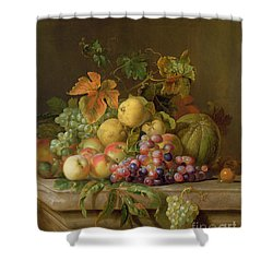 A Still Life Of Melons Grapes And Peaches On A Ledge Shower Curtain by Jakob Bogdani