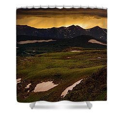Shower Curtain featuring the photograph A Stormy Alpine Sunset by John De Bord