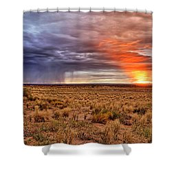 A Stormy New Mexico Sunset - Storm - Landscape Shower Curtain by Jason Politte