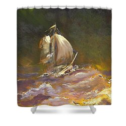 A Stormy Night At Sea Shower Curtain