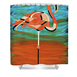 A Straight Up Flamingo Shower Curtain