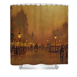 A Street At Night Shower Curtain by John Atkinson Grimshaw