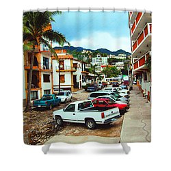 Shower Curtain featuring the photograph A Street In Puerto Vallarta by Kathy Kelly